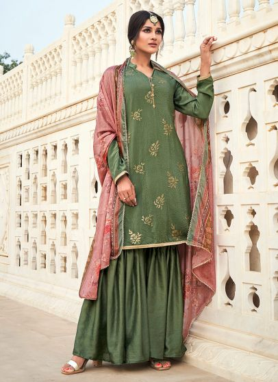 Green and Pink Embroidered Gharara Suit