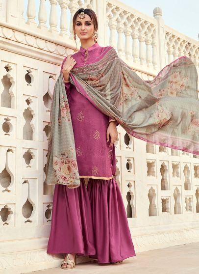 Purple and Grey Embroidered Gharara Suit