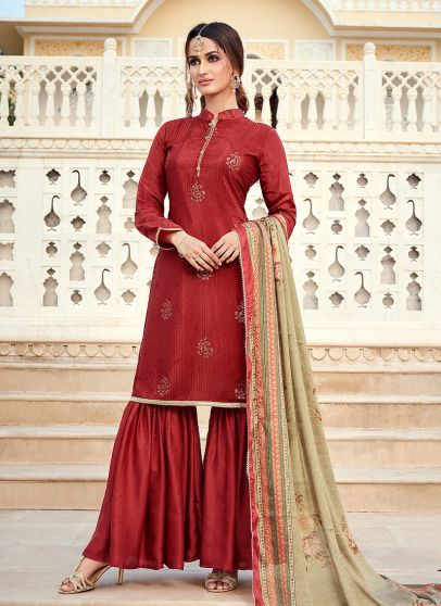 Maroon and Grey Embroidered Gharara Suit
