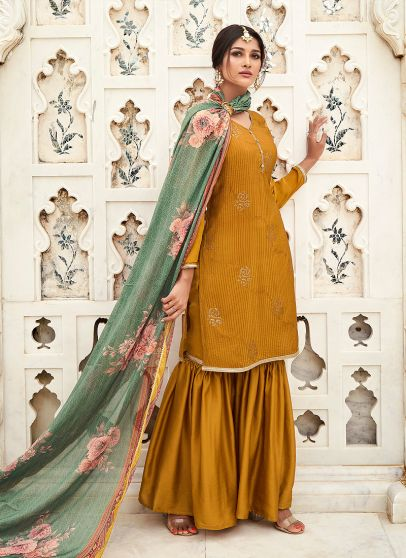 Mustard and Green Embroidered Gharara Suit