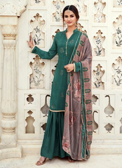 Teal Green Embroidered Gharara Suit