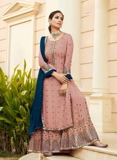 Pink and Blue Embroidered Palazzo Suit