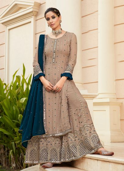 Light Beige and Blue Embroidered Palazzo Suit