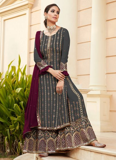 Carbon Grey and Magenta Embroidered Palazzo Suit