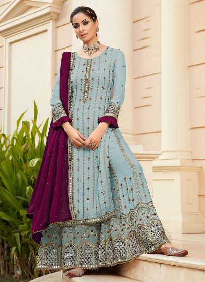 Sky Blue and Purple Embroidered Palazzo Suit