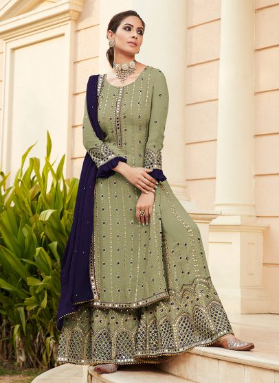 Green and Blue Embroidered Palazzo Suit