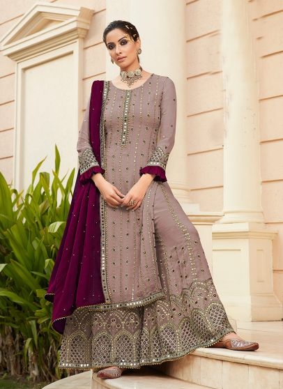Mauve and Purple Embroidered Palazzo Suit