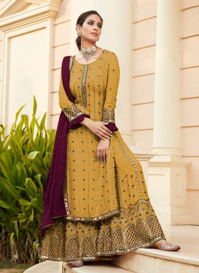 Mustard and Maroon Embroidered Palazzo Suit