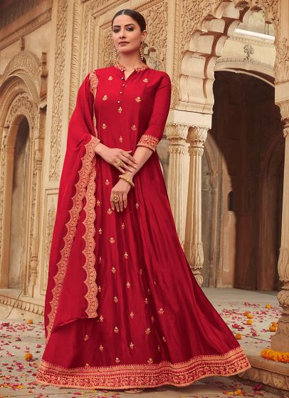 Red and Gold Embroidered Gown