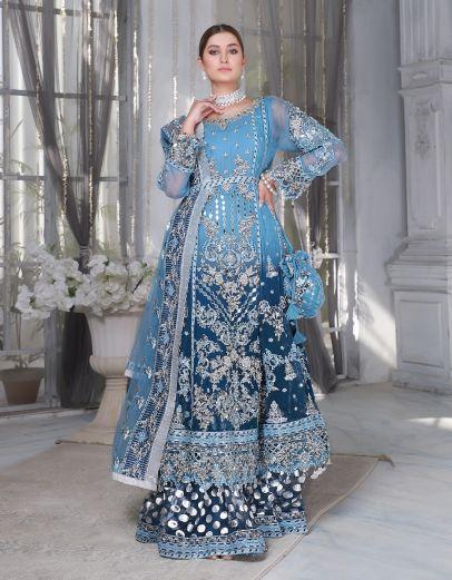Lavish Blue Embroidered Pakistani Palazzo Suit