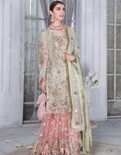 Mint and Pink Embroidered Pakistani Palazzo Suit