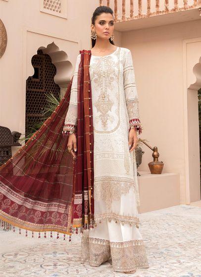 Ivory White and Maroon Embroidered Pakistani Salwar Kameez