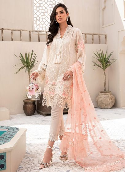 Off White and Peach Embroidered Pakistani Salwar Kameez