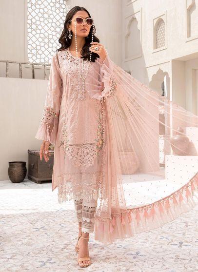 Nude Pink Embroidered Pakistani Salwar Kameez