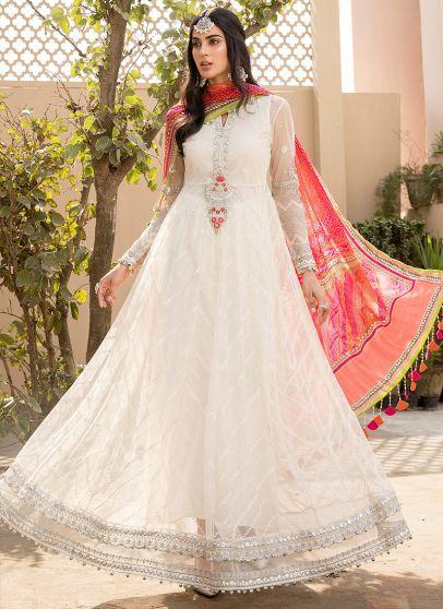 White and Pink Embroidered Pakistani Anarkali