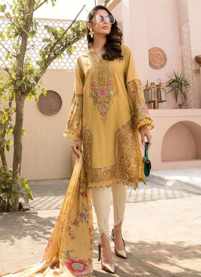 Mustard Embroidered Pakistani Salwar Kameez