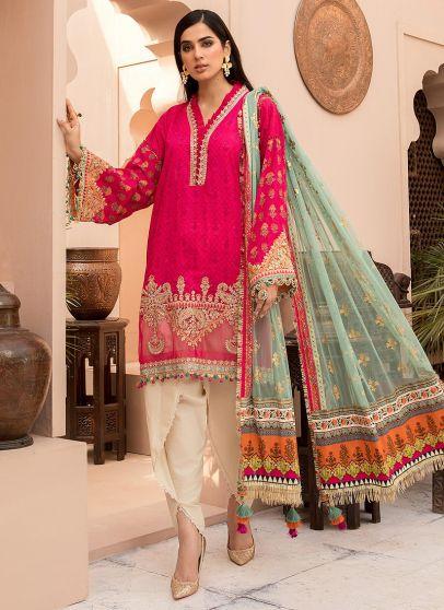 Fuchsia Pink Embroidered Pakistani Gharara Suit