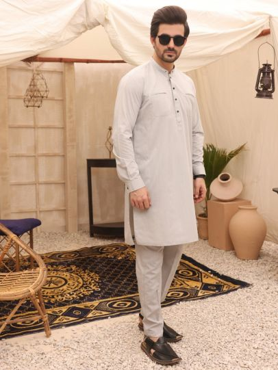 Light Grey blended Kurta with Trousers