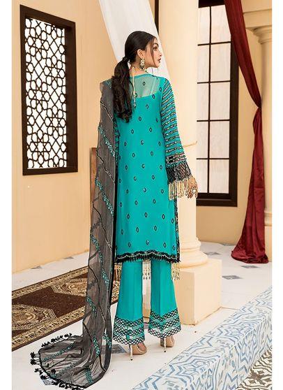 Turquoise and Black Embroidered Pakistani Salwar Kameez