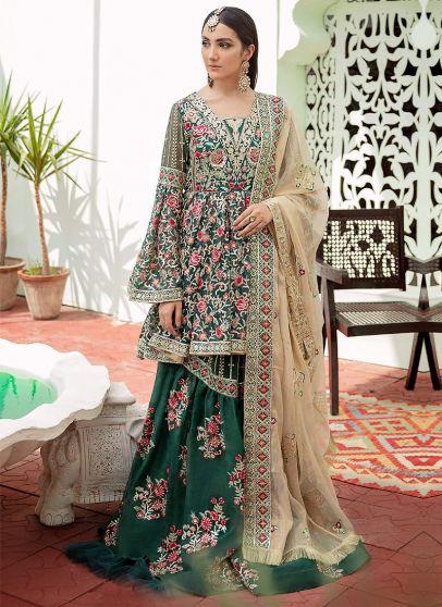 Elegant Lines Embroidered Pakistani Sharara Suit