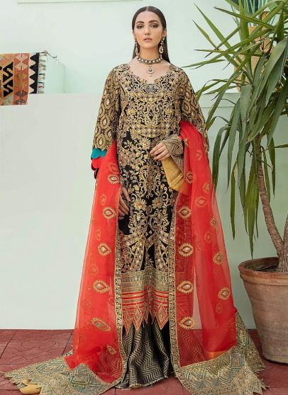 Night Blooms Embroidered Pakistani Palazzo Suit