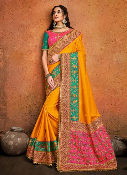 Yellow and Pink Embroidered Saree