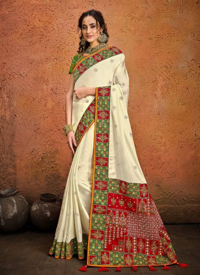 White and Green Embroidered Saree