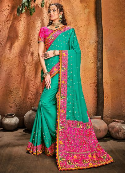 Sea Green and Pink Embroidered Saree