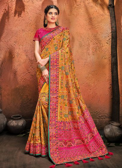 Mustard Yellow and Pink Embroidered Saree