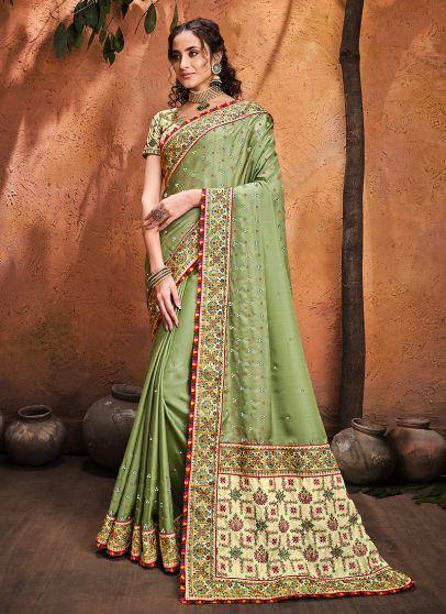 Pista Green Embroidered Saree