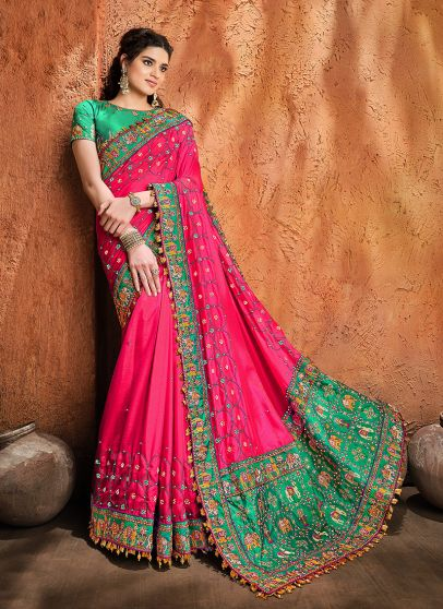 Pink and Teal Embroidered Saree
