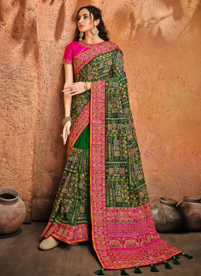 Green and Pink Embroidered Saree