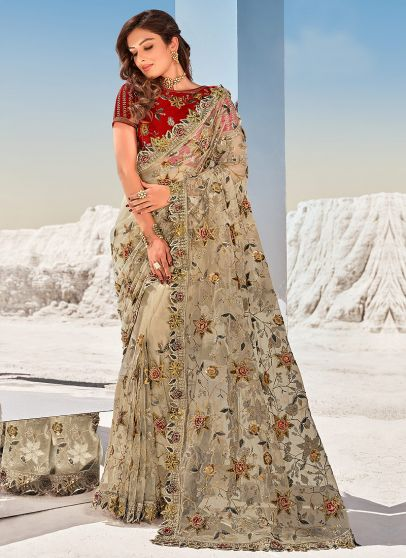 Light Beige and Red Embroidered Saree