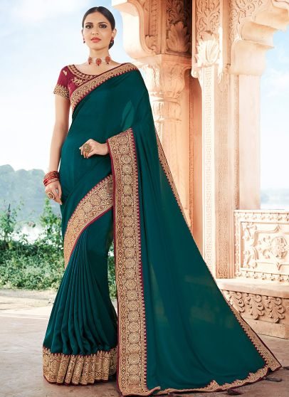Teal and Maroon Embroidered Saree