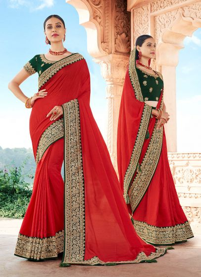 Red and Green Embroidered Saree