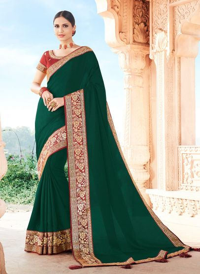 Green and Red Embroidered Saree