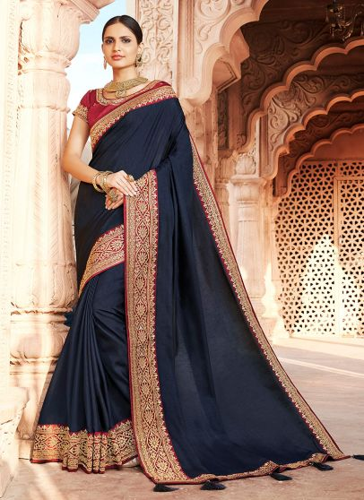 Blue and Maroon Embroidered Saree