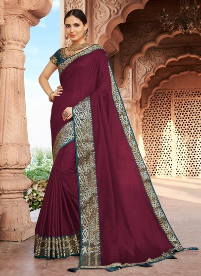 Pink and Green Embroidered Saree