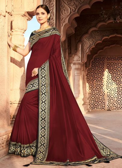 Maroon and Black Embroidered Saree