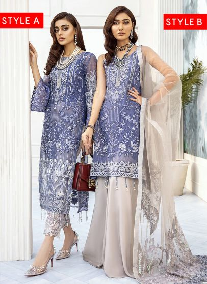 Ocean Blue Embroidered Pakistani Salwar Kameez