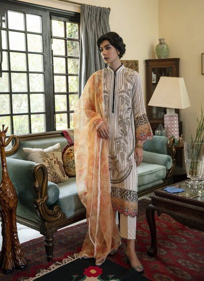 Qline Embroidered Pakistani Lawn Salwar Kameez