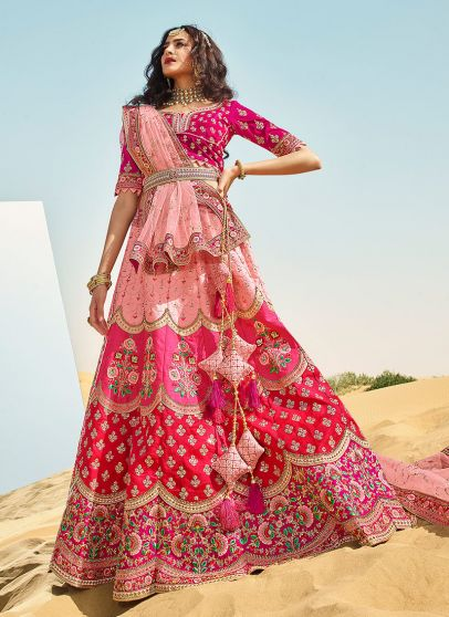 Pink Multicolor Heavy Embroidered Lehenga