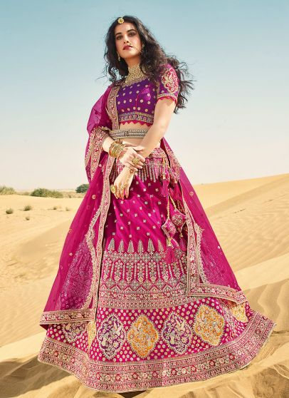 Pink and Blue Heavy Embroidered Lehenga