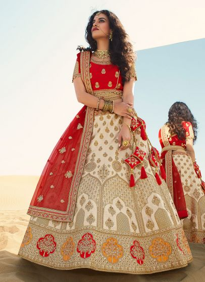 Offwhite and Red Heavy Embroidered Lehenga