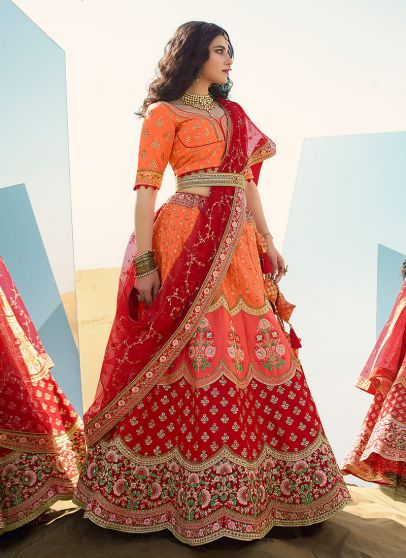 Peach and Red Heavy Embroidered Lehenga
