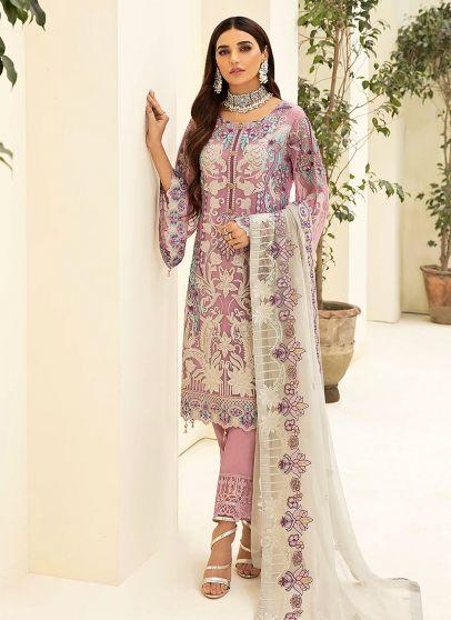 Mauve Embroidered Pakistani Salwar Kameez