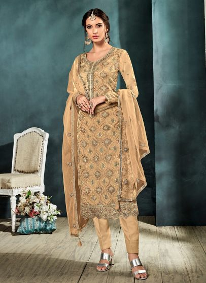 Beige and Gold Embroidered Straight Pant Suit