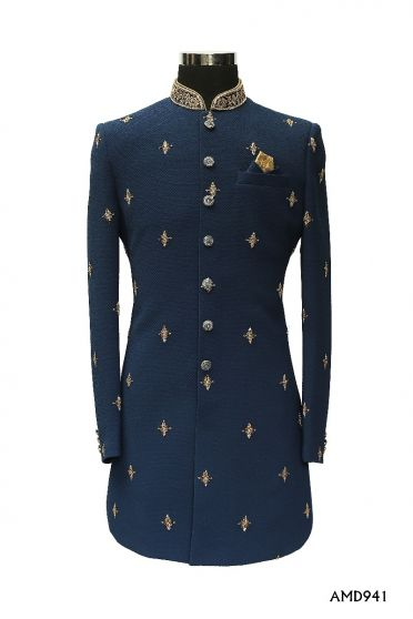 Navy Blue Indowetern Embroideryed Motive Sherwani  Suit
