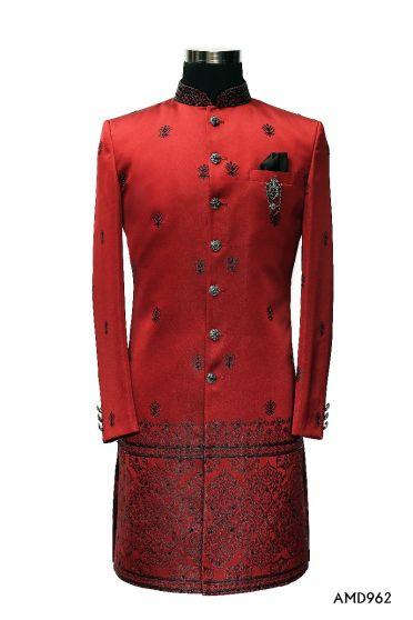 Maroon Red Jacard Sherwani  Suit