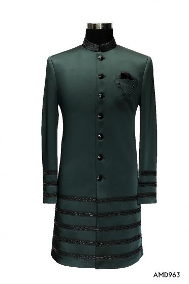 Bottle Green Indo Western Sherwani Suit